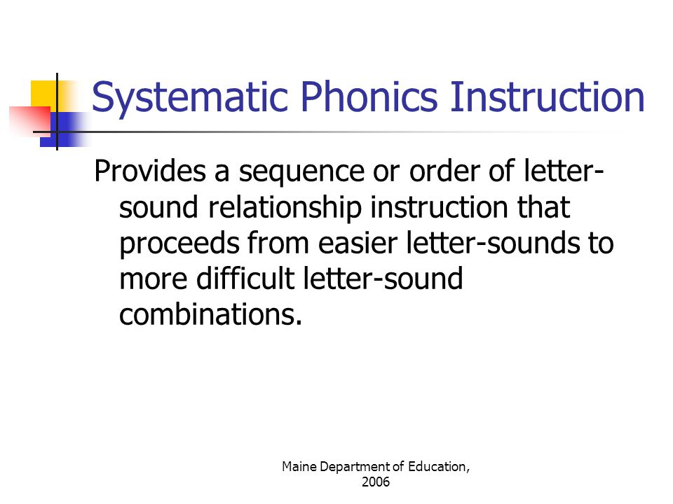 Systematic Phonics Instruction