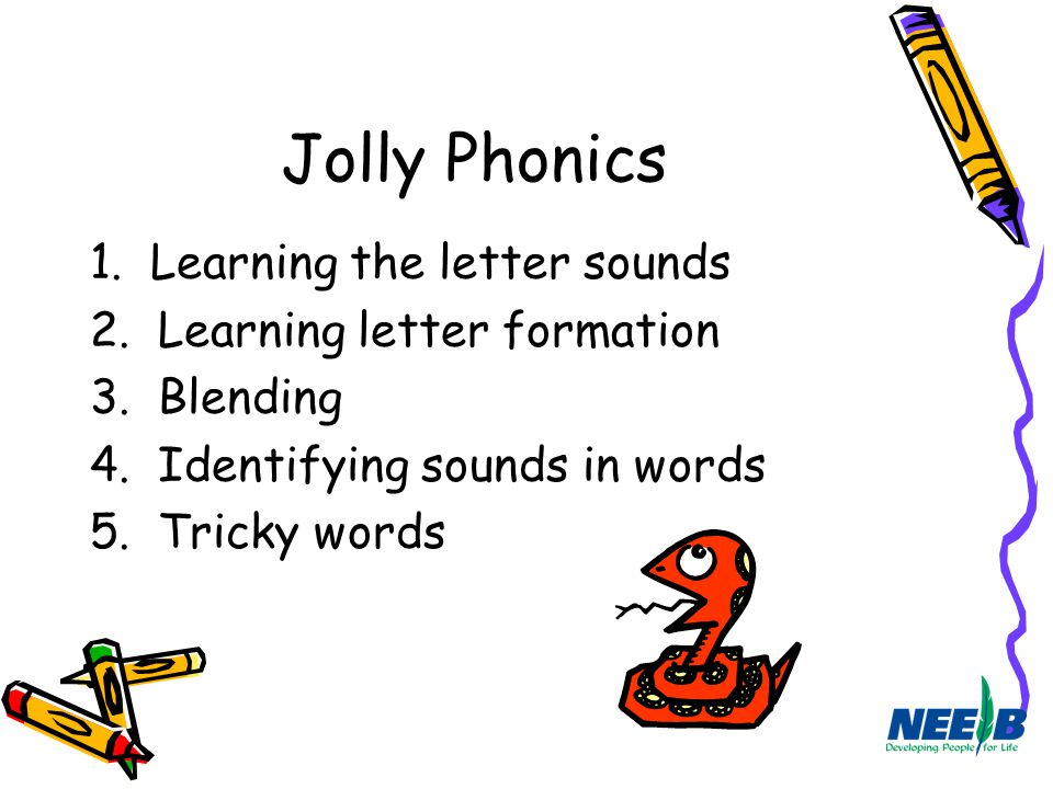 Jolly Phonics 1. Learning the letter sounds