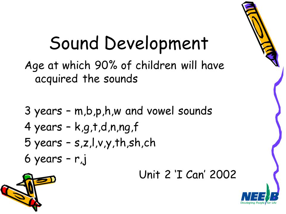 Sound Development Age at which 90% of children will have acquired the sounds. 3 years – m,b,p,h,w and vowel sounds.