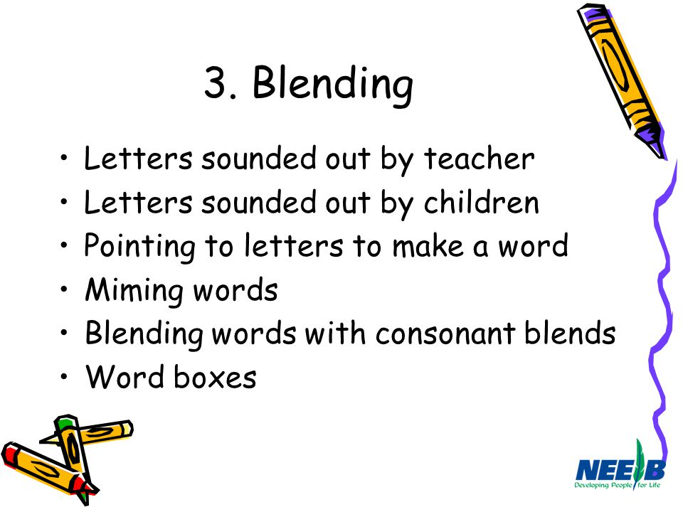 3. Blending Letters sounded out by teacher