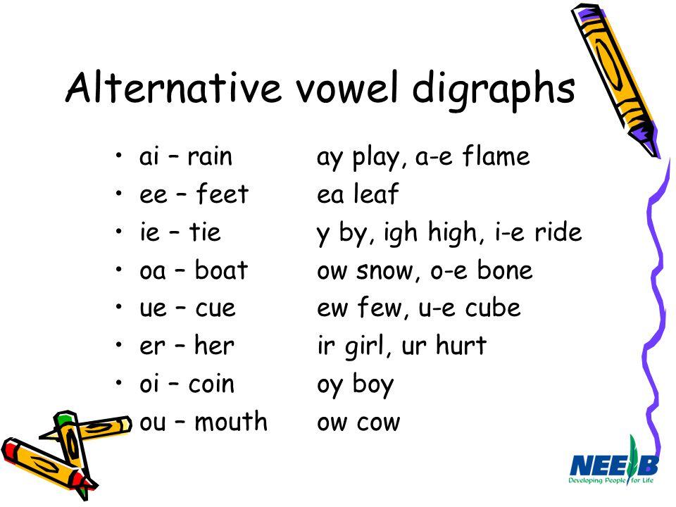 Alternative vowel digraphs