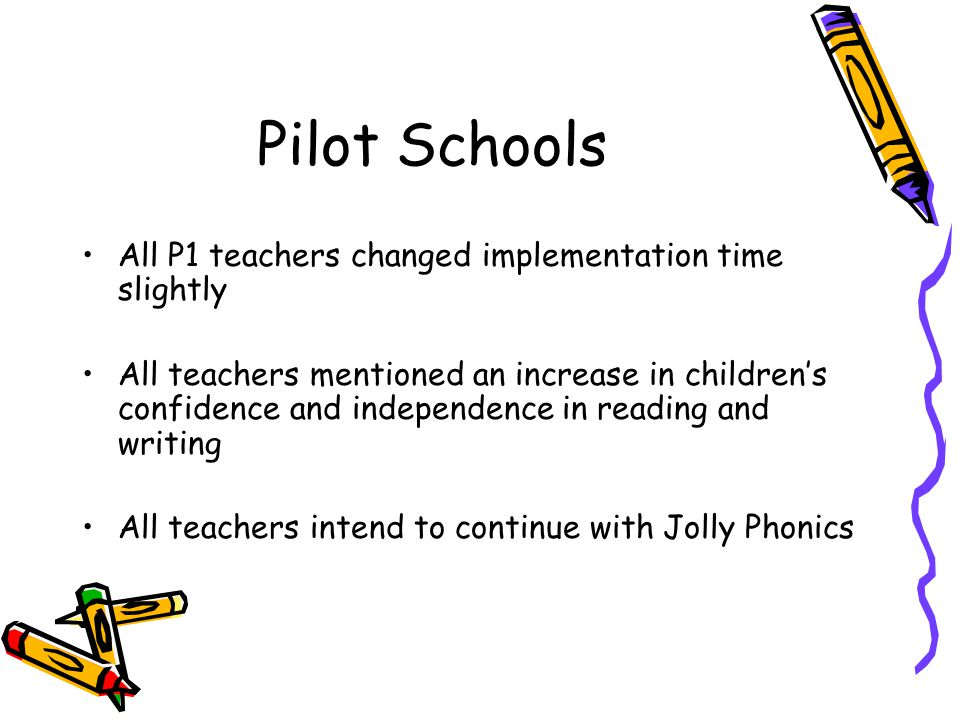 Pilot Schools All P1 teachers changed implementation time slightly