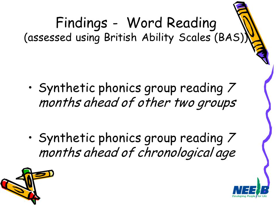 Findings - Word Reading (assessed using British Ability Scales (BAS))