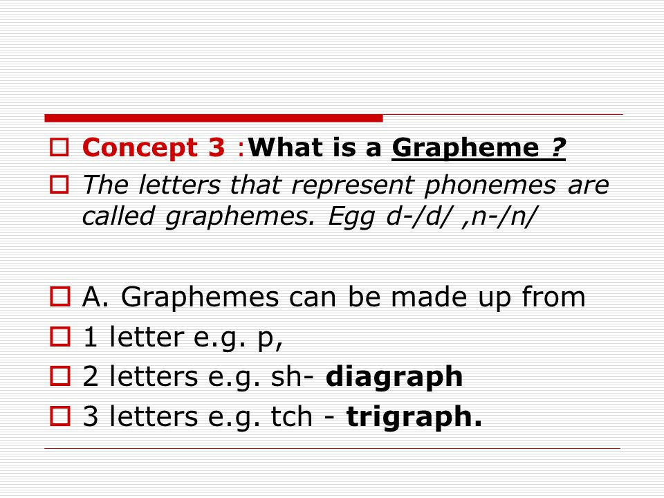 A. Graphemes can be made up from 1 letter e.g. p,