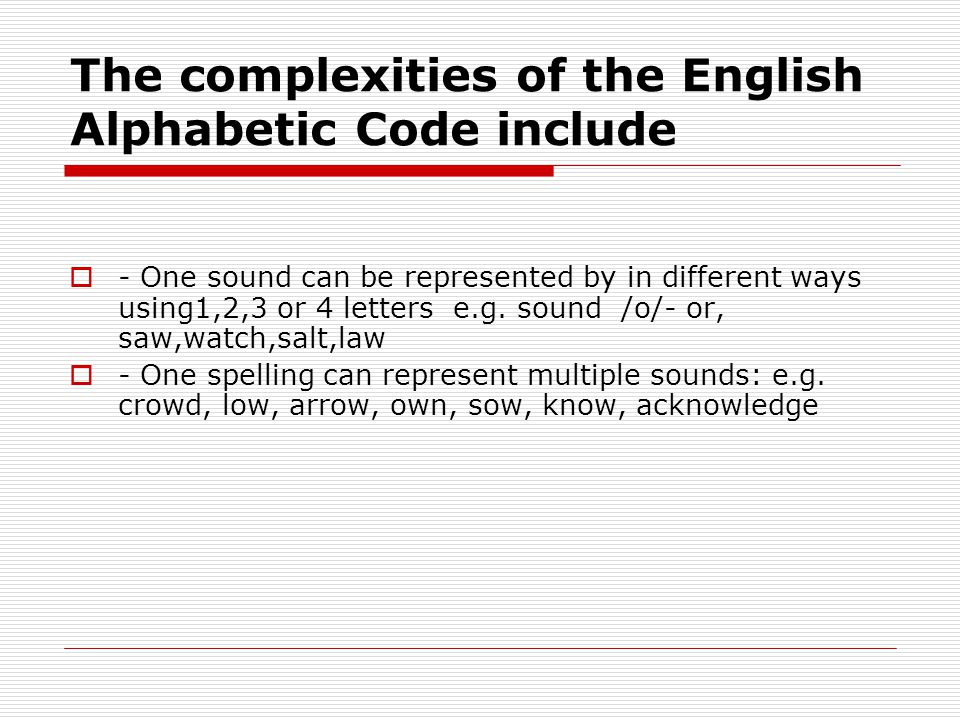 The complexities of the English Alphabetic Code include