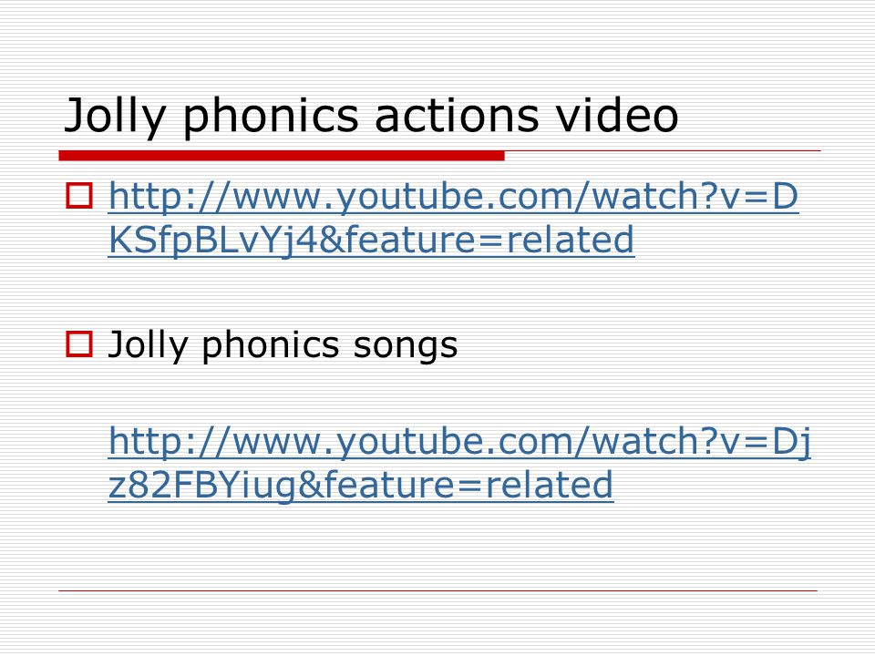 Jolly phonics actions video