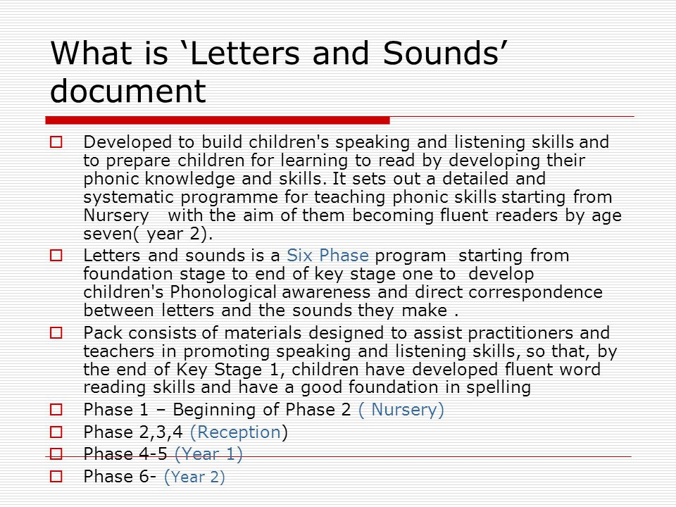 What is 'Letters and Sounds' document