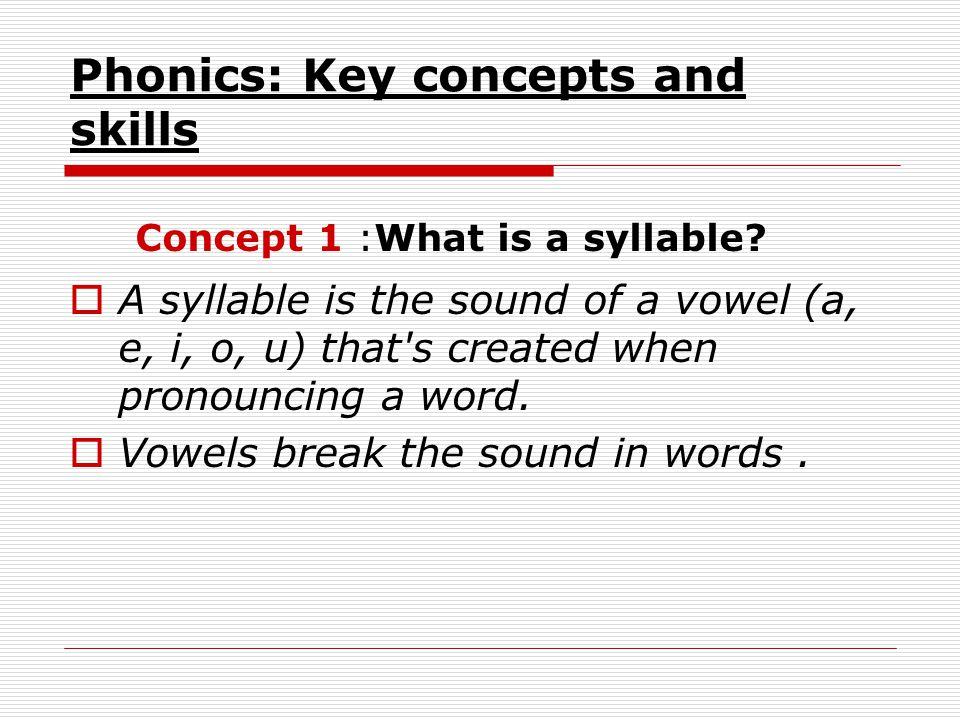 Phonics: Key concepts and skills