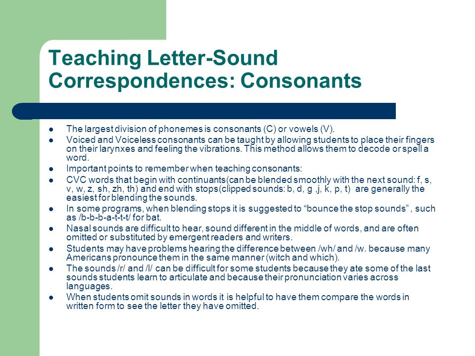 Teaching Letter-Sound Correspondences: Consonants
