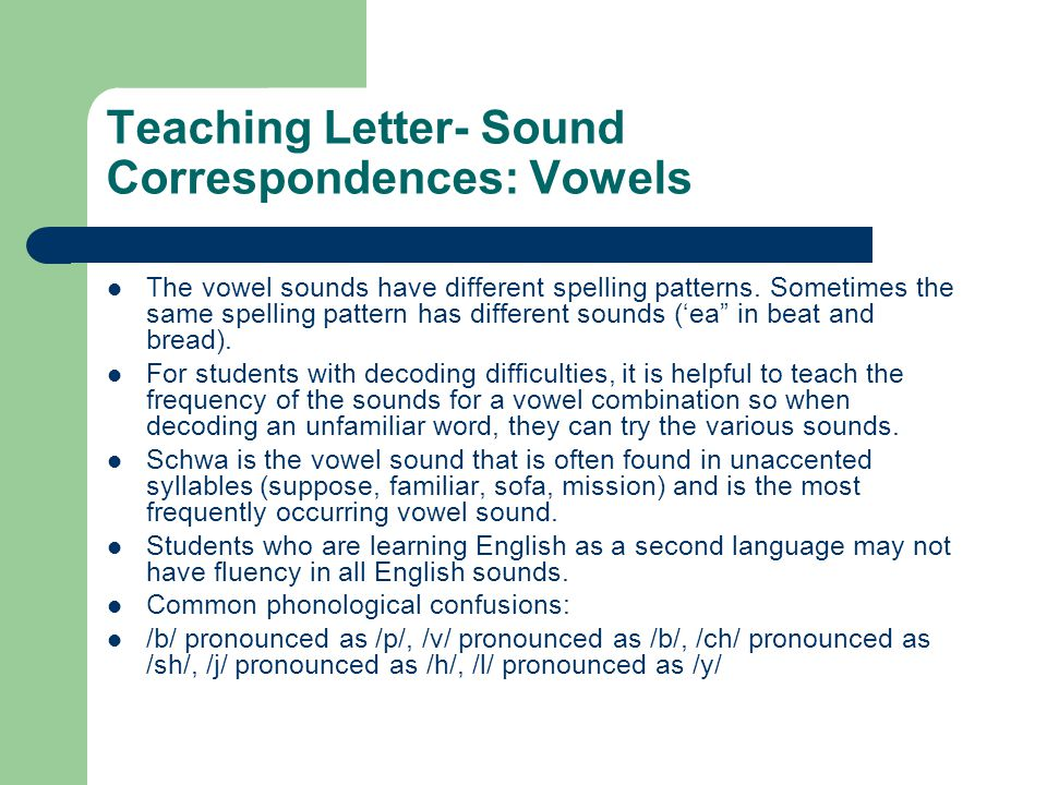 Teaching Letter- Sound Correspondences: Vowels