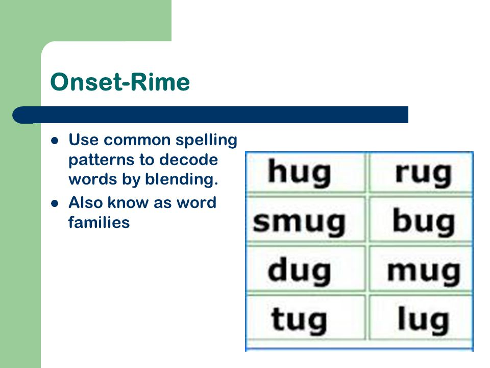 Onset-Rime Use common spelling patterns to decode words by blending.
