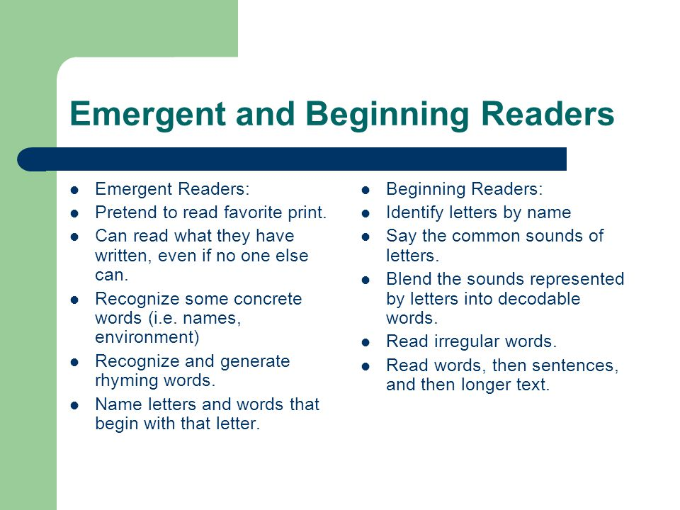 Emergent and Beginning Readers