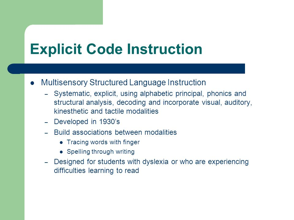 Explicit Code Instruction