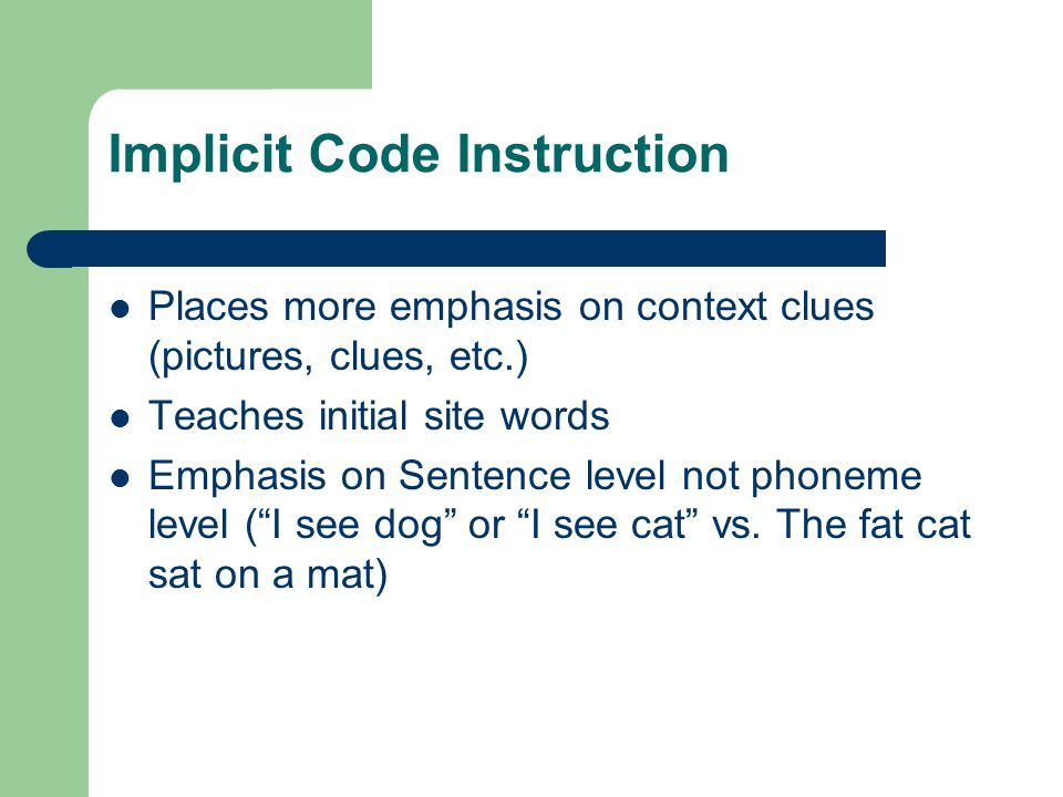 Implicit Code Instruction