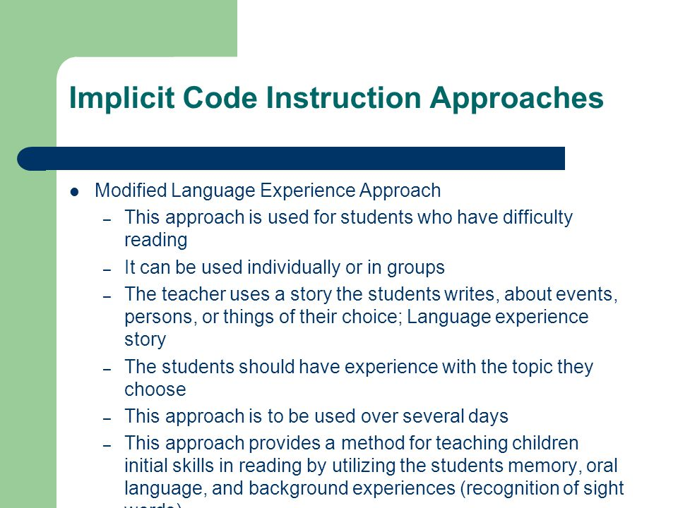 Implicit Code Instruction Approaches