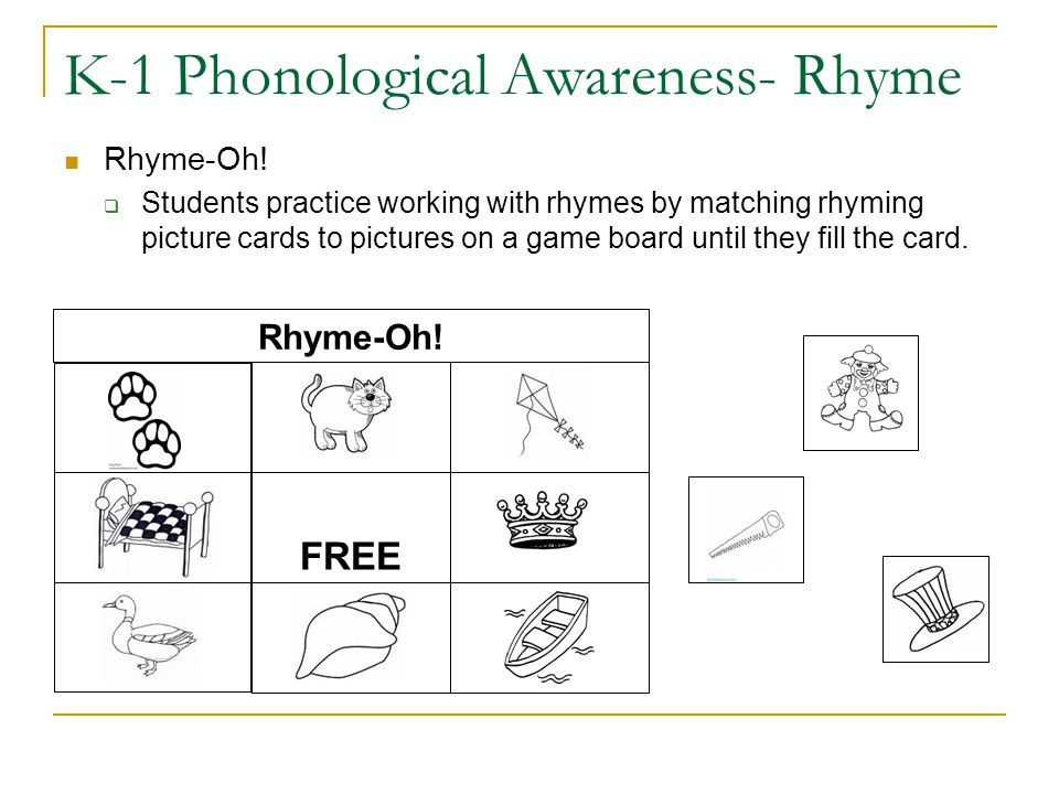 K-1 Phonological Awareness- Rhyme