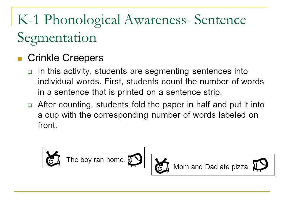K-1 Phonological Awareness- Sentence Segmentation