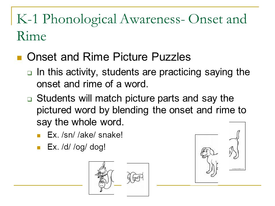 K-1 Phonological Awareness- Onset and Rime