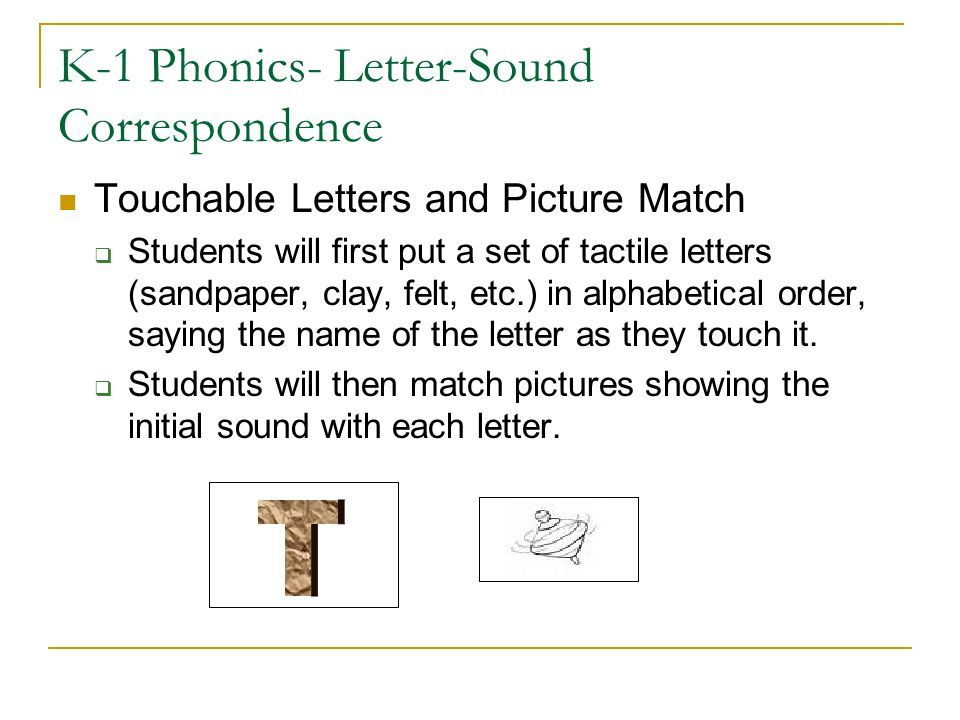 K-1 Phonics- Letter-Sound Correspondence