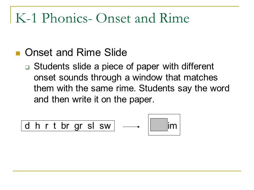 K-1 Phonics- Onset and Rime