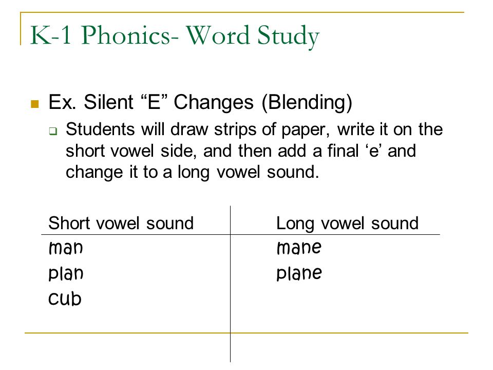 K-1 Phonics- Word Study Ex. Silent E Changes (Blending)