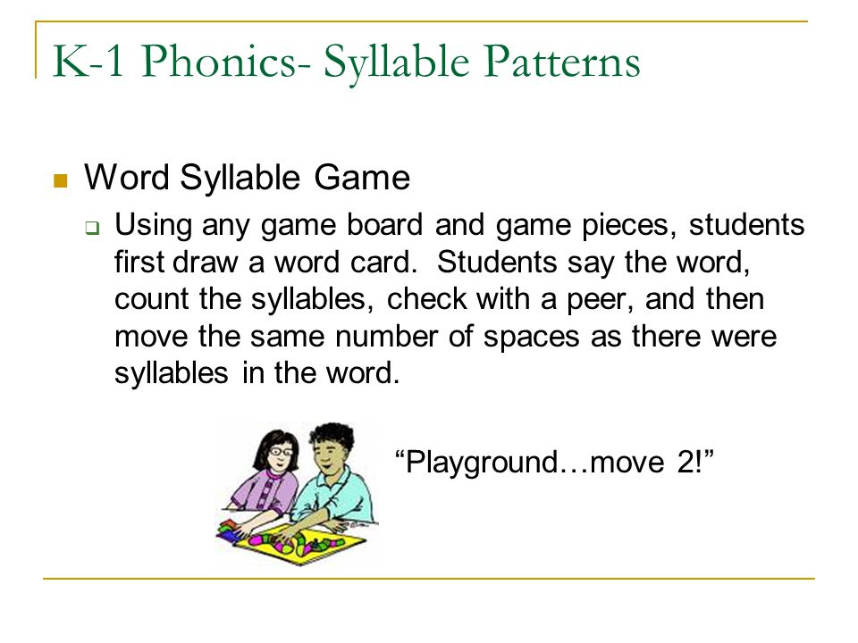 K-1 Phonics- Syllable Patterns