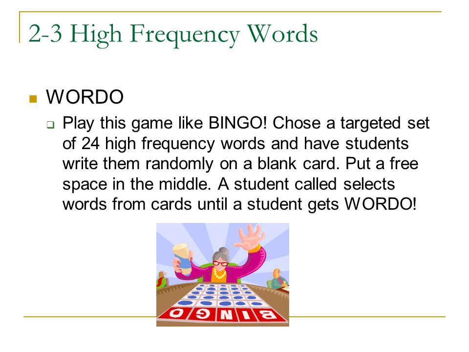 2-3 High Frequency Words WORDO