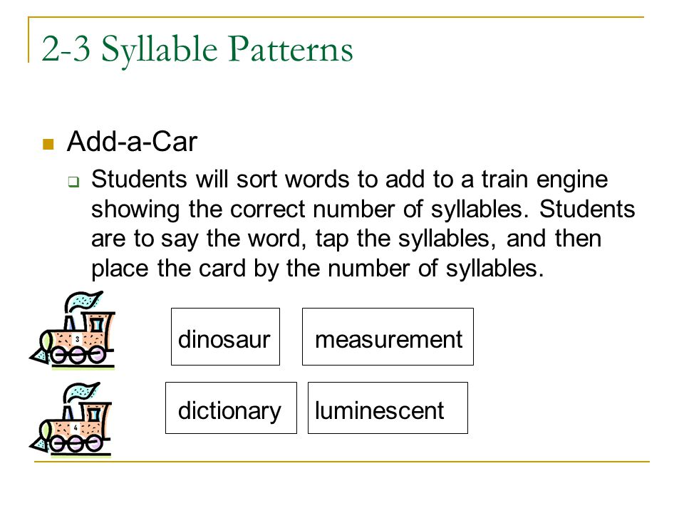 2-3 Syllable Patterns Add-a-Car