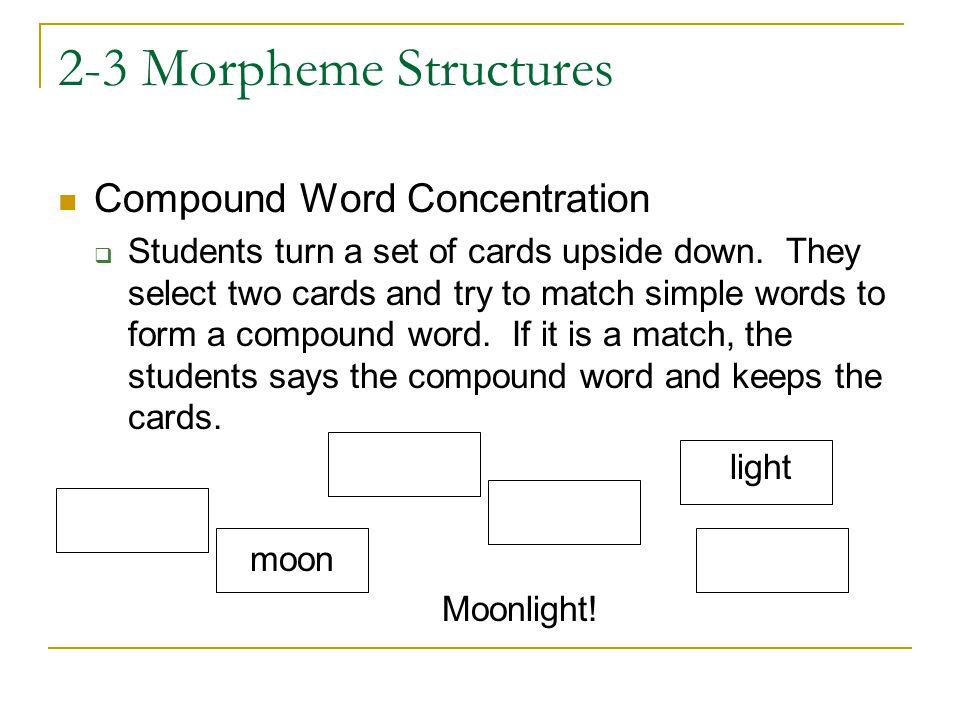 2-3 Morpheme Structures Compound Word Concentration