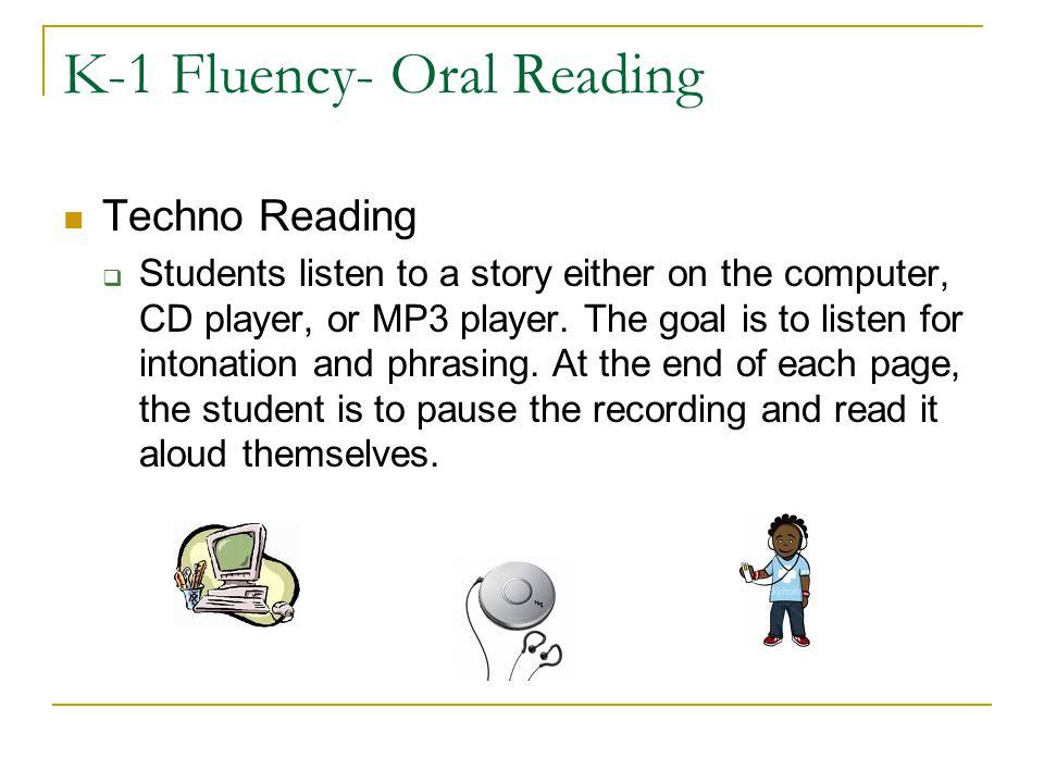K-1 Fluency- Oral Reading