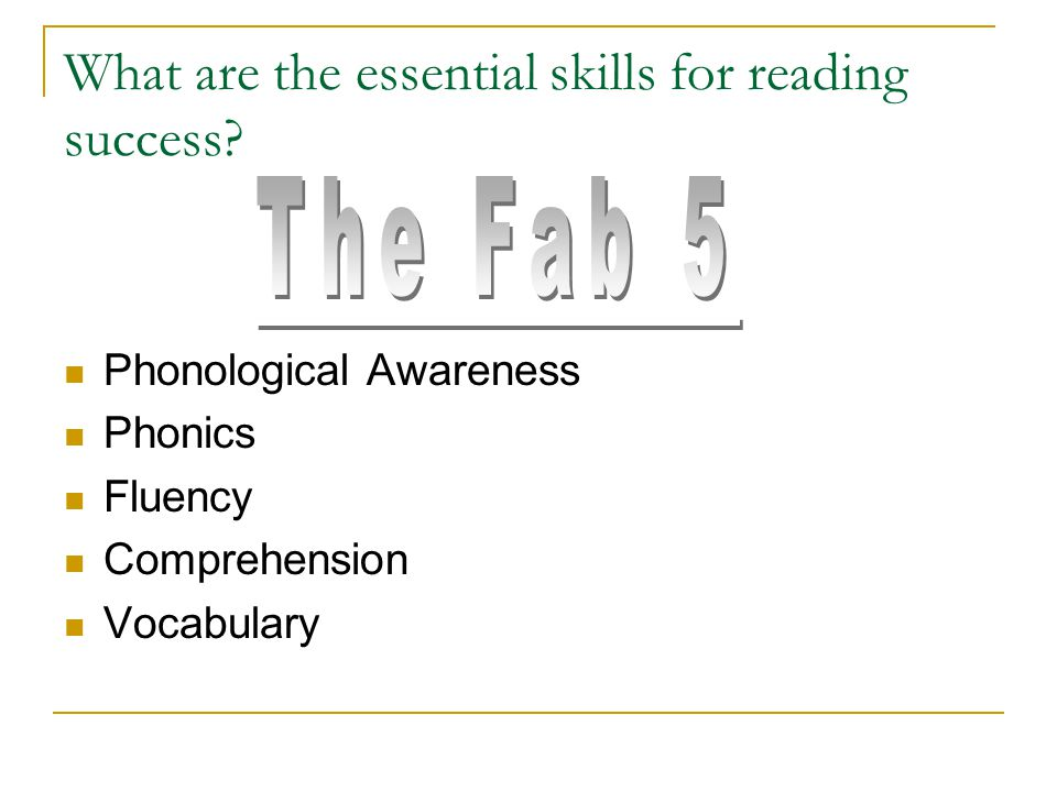 What are the essential skills for reading success