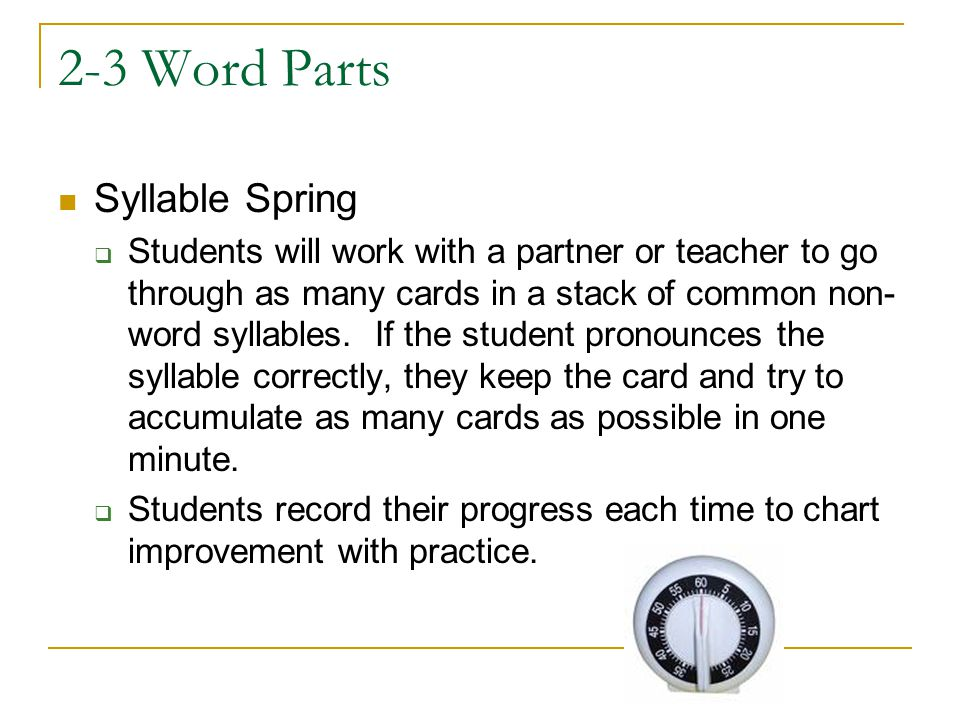 2-3 Word Parts Syllable Spring