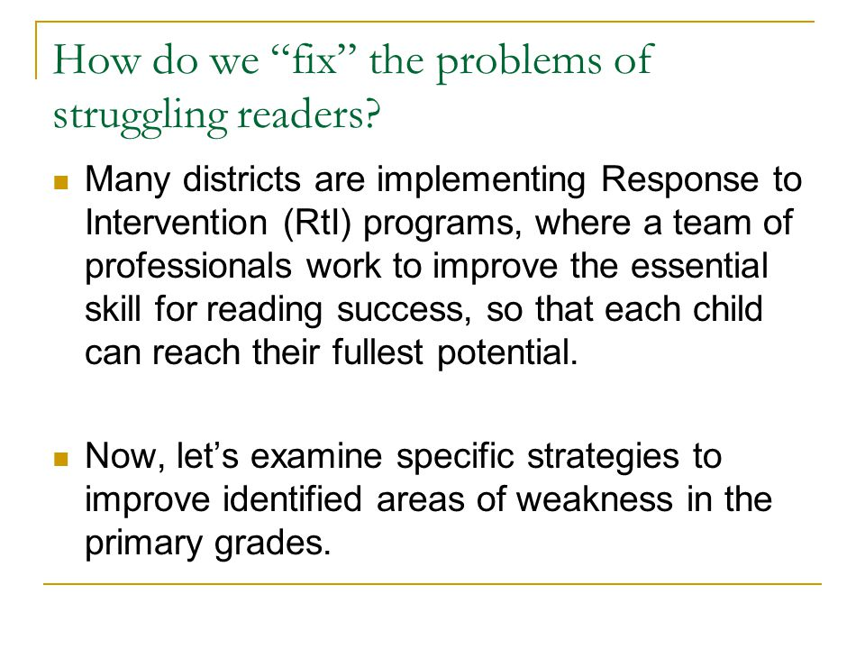 How do we fix the problems of struggling readers