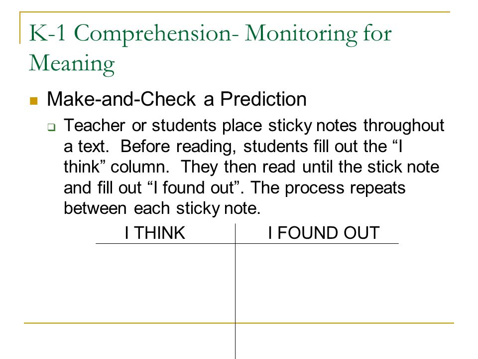 K-1 Comprehension- Monitoring for Meaning