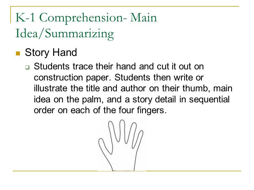 K-1 Comprehension- Main Idea/Summarizing