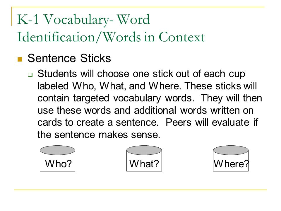 K-1 Vocabulary- Word Identification/Words in Context