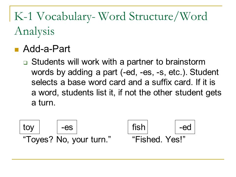 K-1 Vocabulary- Word Structure/Word Analysis
