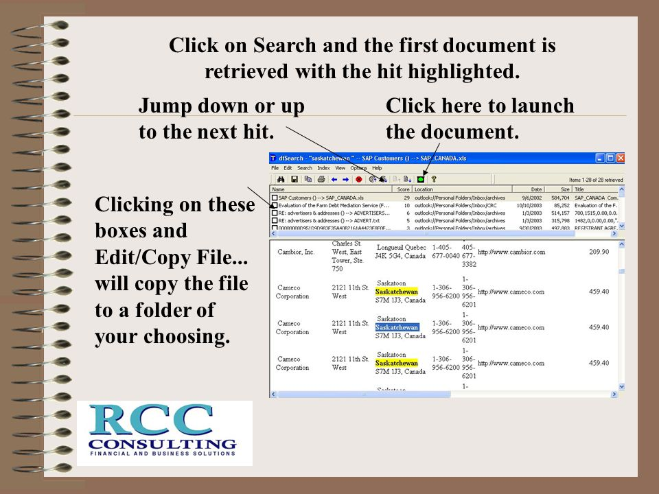 Click on Search and the first document is retrieved with the hit highlighted.