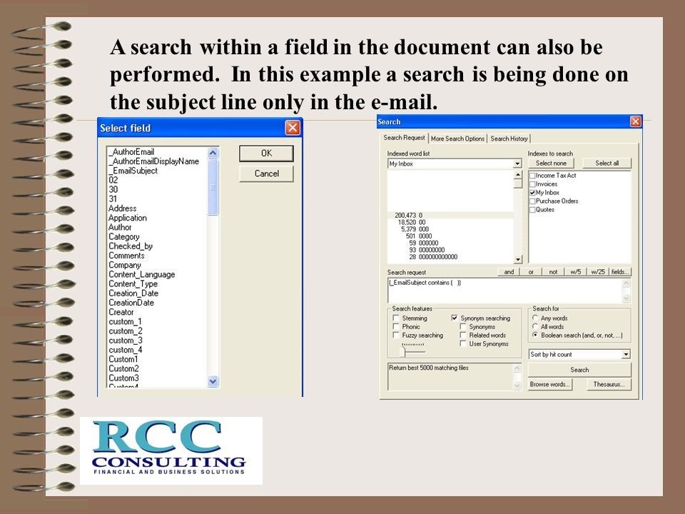 A search within a field in the document can also be performed