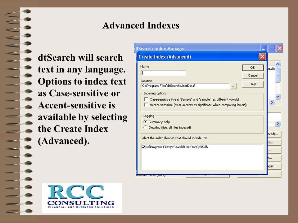Advanced Indexes