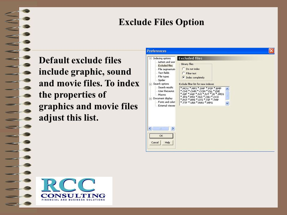 Exclude Files Option