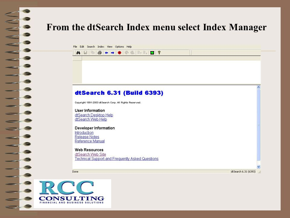 From the dtSearch Index menu select Index Manager