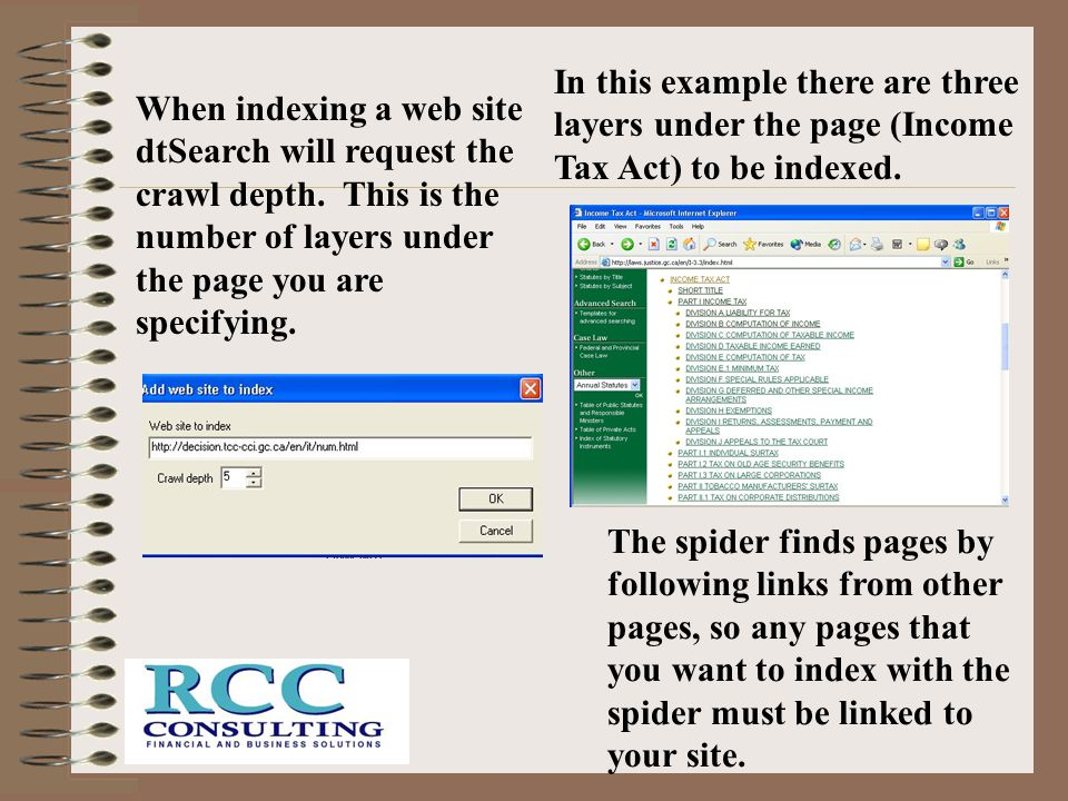 In this example there are three layers under the page (Income Tax Act) to be indexed.