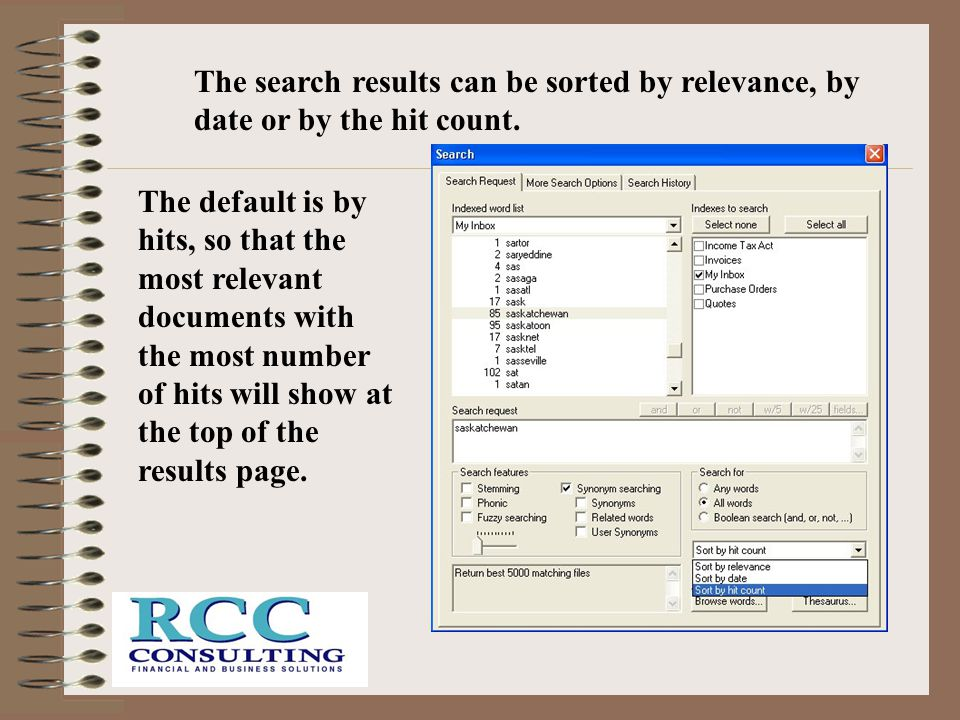 The search results can be sorted by relevance, by date or by the hit count.