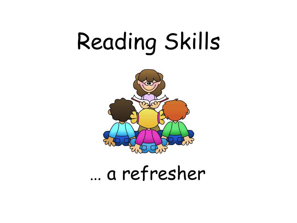 Reading Skills … a refresher