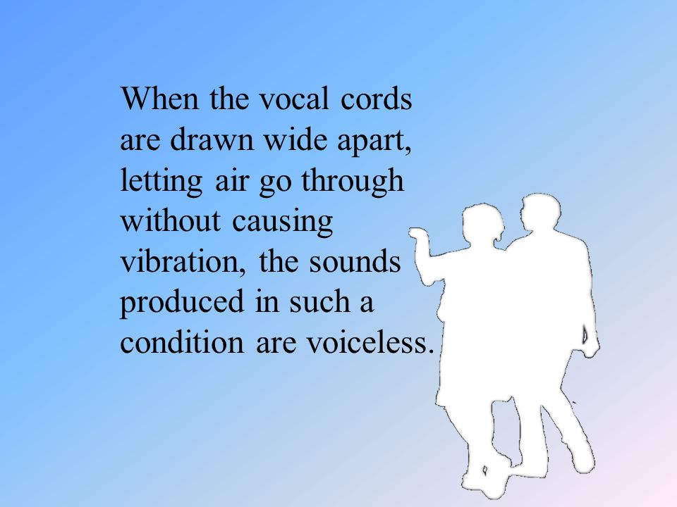When the vocal cords are drawn wide apart, letting air go through without causing vibration, the sounds produced in such a condition are voiceless.