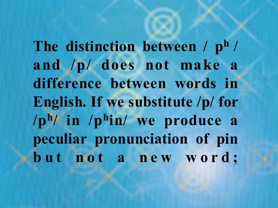 The distinction between / ph / and /p/ does not make a difference between words in English.