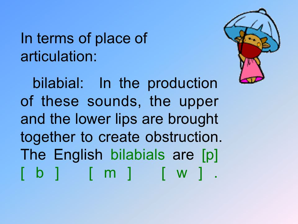 In terms of place of articulation: