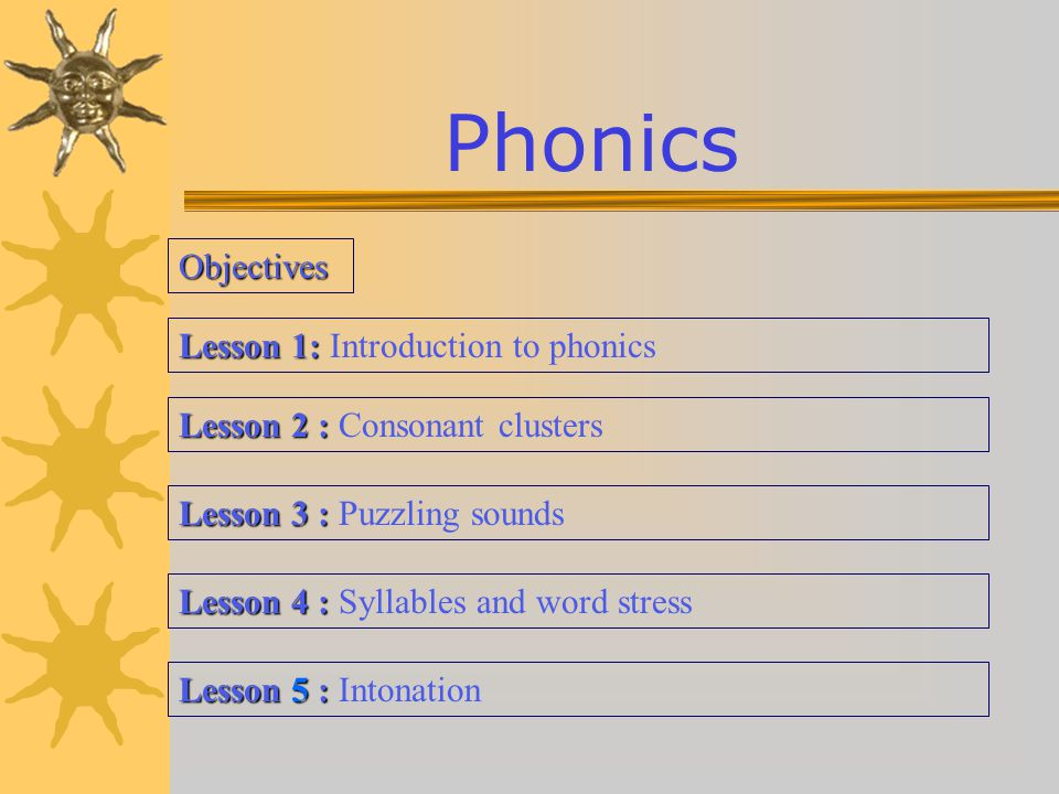 Phonics Objectives Lesson 1: Introduction to phonics