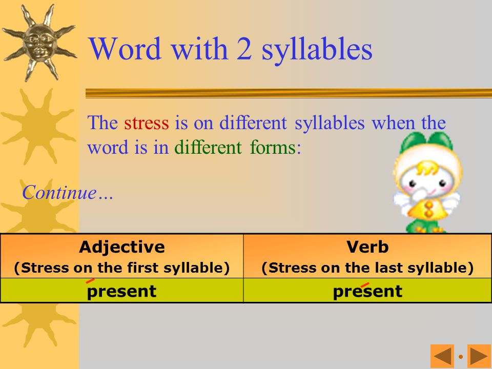 (Stress on the first syllable) (Stress on the last syllable)